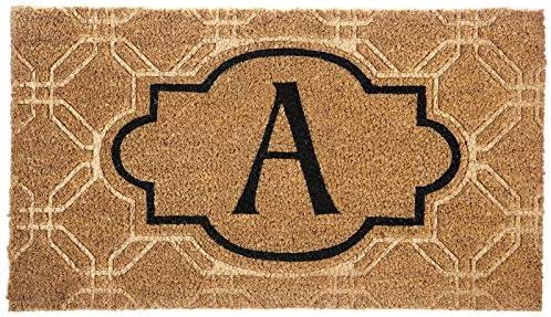 Evergreen Flag Monogram Embossed Coir Floor Mat, Letter A