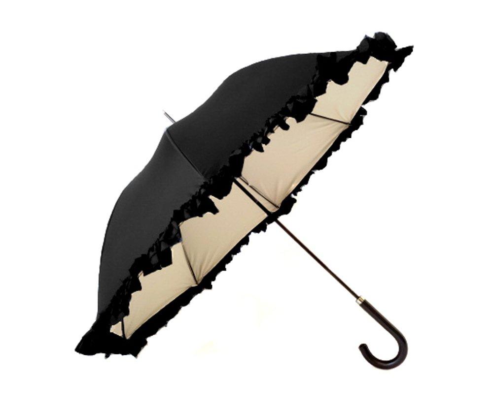 クラシコ 遮光100% 晴雨兼用 日傘 uvカット 100% 遮光 遮光 紫外線カット 紫外線対策 清涼効果 コーティング 二重生地 ダブルフリル 傘 かさ カサ レディース ショートタイプ B06Y643T8X 02 ブラック×ベージュ 02 ブラック×ベージュ