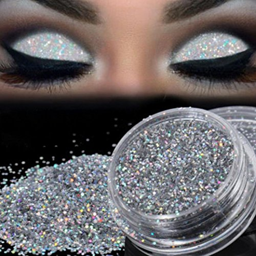 Poluck Women's Sparkling Glow Loose Powder Holographic Glitter for Eyeshadow & Nail decoration & Body Face Art Waterproof Long Lasting EyeShadow Cosmetic (Silver) ()