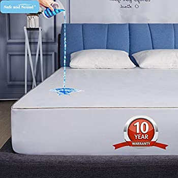 Safe and Sound King Size Waterproof Mattress Protector, Cool-EX Temperature Control Mattress Cover, Hypoallergenic, Premium Breathable Durable & Vinyl Free Bed Cover 10-Year Quality Assurance