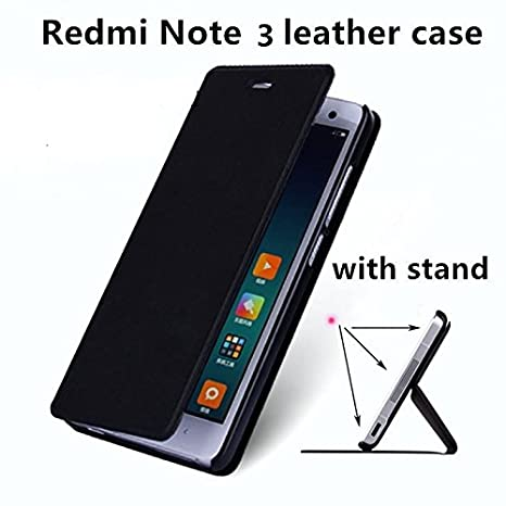 super popular e4cda 33ddc Ntron Premium Leather Flip Cover with Stand for Xiaomi Redmi Note 3(Black)