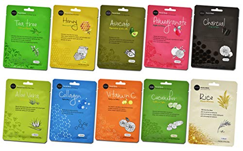 Celavi Collagen Face Mask (10-Sheets) Classic Korean Skincare | Lighten, Moisturize, Tighten Skin | Diminish Dark Spots & Circles | Whiten, Brighten, Balance Pigmentation (Best Skincare For Pigmentation)