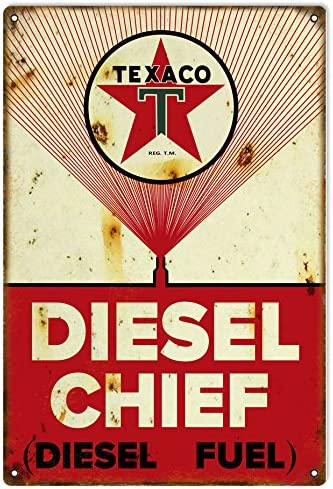 "20/"" TEXACO RECTANGLE RED DIESEL CHIEF FUEL GASOLINE GAS  PUMP OIL TANK DECAL"