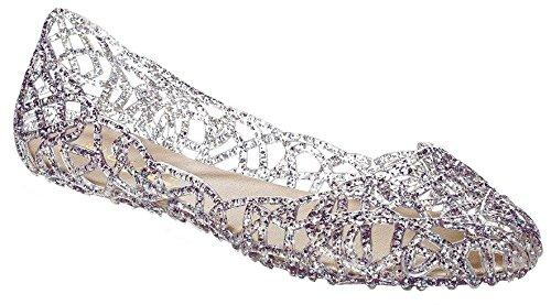 Glasur Damen Jelly Ballet Flat Zinn