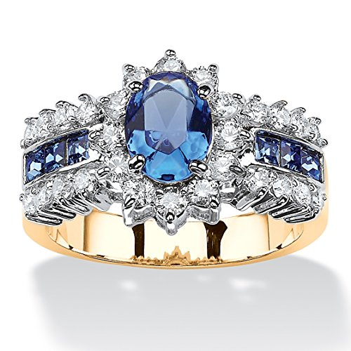 82-TCW-Simulated-Blue-Sapphire-Crystal-Swarovski-Elements-14k-Gold-Plated-Two-Tone-Halo-Ring