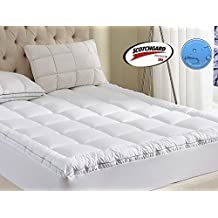 Mattress Pad King Size 400TC Cotton Top 3M Water Resistant Hypoallergenic-71oz Down Alternative Filling Pillowtop Mattress Topper Cover-Fitted Quilted 8-21 Inch Deep Pocket