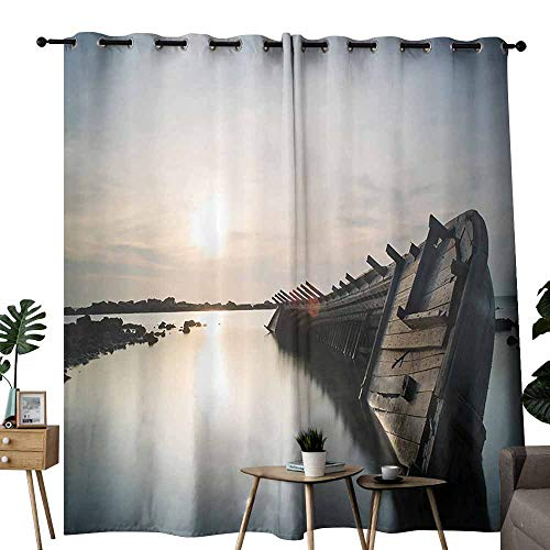Ocean Decor Insulated Curtains Big Sinking Rustic Boat Crash in The Lake Landscape with Horizon on Back Wedding Party Home Window Decoration W96 xL72 Light Blue Brown]()