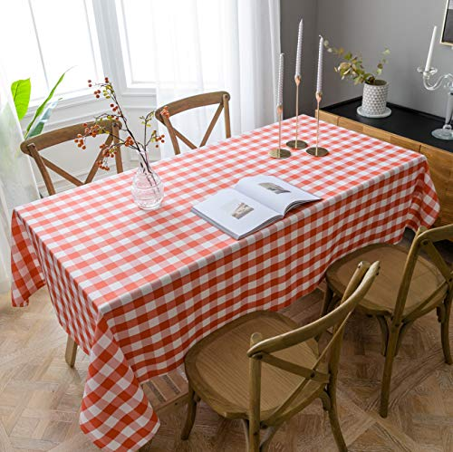 Aquazolax Red & White Checkered Tablecloth Buffalo Plaid Farmhouse Rectangle Cloth Table Covers for Patio Dining Room and Party, 60