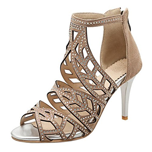 COOLCEPT Women Fashion Ankle Strap Sandals Stiletto Cut Out Peep Toe Shoes With Zip apricot TM0gqRlpp