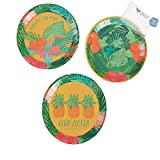 Bargain World Tropical Fiesta Round Paper Appetizer Plates (With Sticky Notes)