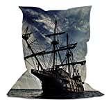 AAA Bean Bags - Comfortable Bean Bag Pillow - Chair - Lounger with Printed Ship (5' x 4.4')