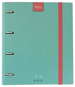 Grafoplás 88102136-Carpeta anillas troqueladas A4 Kuru, color turquesa, tacto extra suave. Inlcuye sobre transparente, 4 separadores y 100 hojas de ...