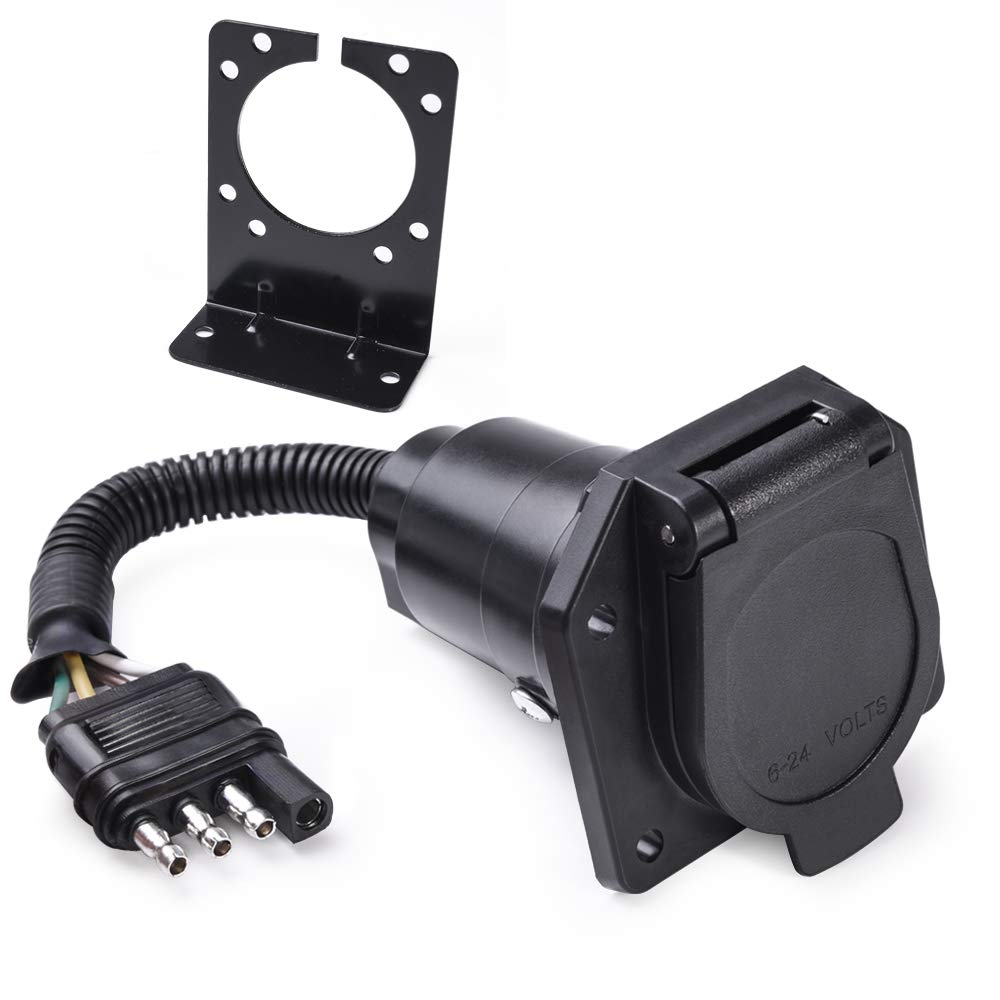 MICTUNING 4-Way Flat to 7-Way Round Blade Trailer Adapter Wiring Plug  Connector with Mounting Bracket - Buy Online in Bulgaria. | mictuning  Products in Bulgaria - See Prices, Reviews and Free DeliveryOnline Shopping in Bulgaria - Desertcart