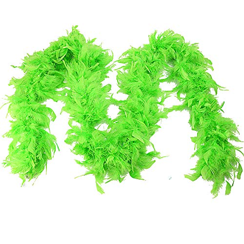 Egmy Gift for Friends Quality White Feather Boa Flapper Hen Night Burlesque Dance Party Show Costume (Green)