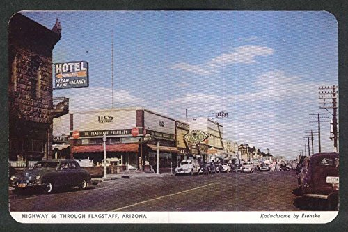 Lily Ice Cream Pharmacy Hotel Highway 66 Flagstaff AZ postcard 1950s