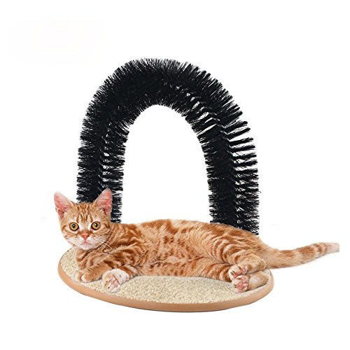 STAR HOME Pet Cat Arch Self Groomer Massager Groom Toy Pet Cat Scratcher Toys Fur Grooming Cat Toy Brush Controls Shedding