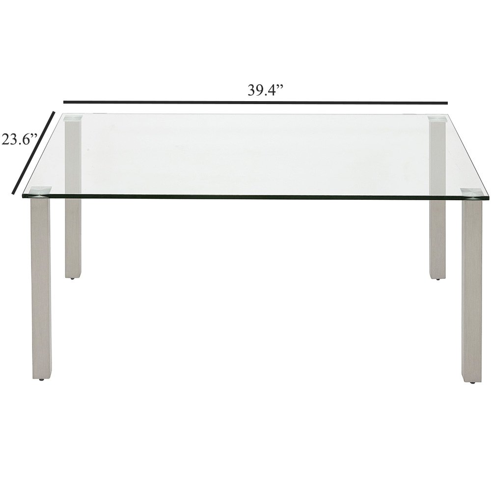 Modern Glass Coffee Table Stainless Brushed Metal Leg Clear Glass Top Designer Tables Squared Legs Rectangle Best for Living Room Couch Area Family Room