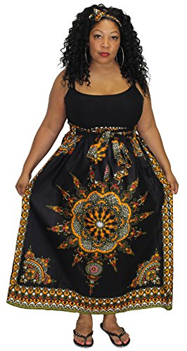 African Planet Women's Wax New Dashiki Skirt Bow Tie Elastic Waist Ankara Maxi (Black)