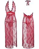 IngerT Bridal Babydoll Lace Up Halter Neck Deep V Transparent Dress for Women