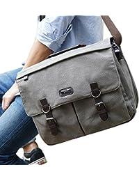 Military Satchel Messenger Bag - Vintage Canvas Shoulder Bag for 15.6 Inch Laptop