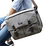 OXA Military Satchel Messenger Bag - Vintage Canvas Shoulder Bag for 15.6 Inch Laptop