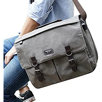 "OXA Messenger Bag - 15.6 Inch Laptop Briefcase for Men and Women,16""(L)x13""(H) x 6.5""(W),Vintage Canvas Gray"