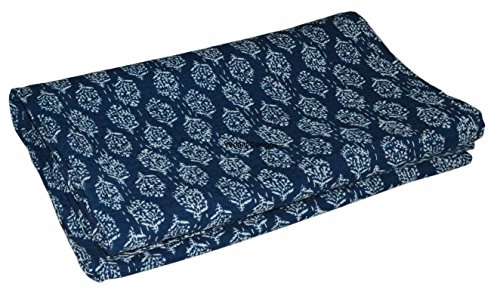 Block Printed (Indian Handmade Blue color Hand Block Printed Kantha Quilt, Queen Size Indigo Blue Cotton Bedspread, 220x270 Cm)