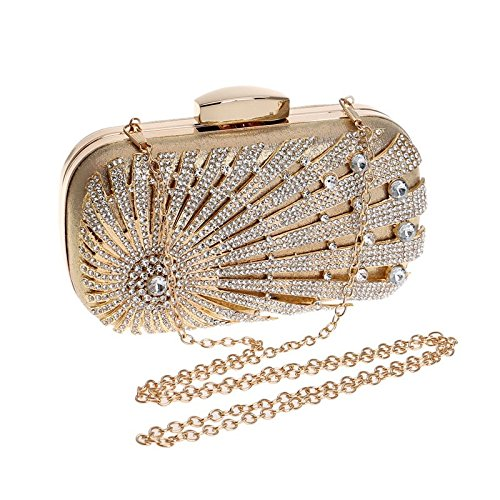 Crossbody Clutch Black KERVINFENDRIYUN Shoulder Bag Ladies Bag Dress Handbag Banquet Purse Diamond Evening Gold Color CvCqX