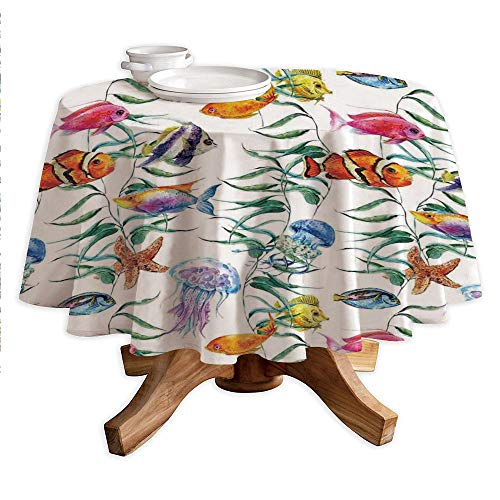 Ocean Animal Decor Round Polyester Tablecloth,Tropical Coral Reef with Seaweed Algae Jellyfish Aquatic Saltwater Nemo Theme,Dining Room Kitchen Round Table Cover,70