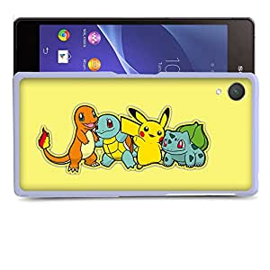 Case88 Designs Pokemon Charmander Squirtle Pikachu Bulbasaur Protective Snap-on Hard Back Case Cover for Sony Xperia Z2