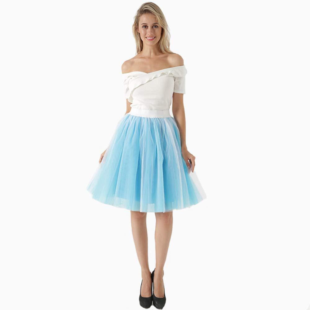 KLGDF Falda 5 Capas 60cm Falda Midi de Tul Princesa para Mujer ...