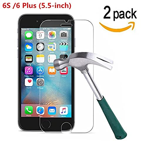 iPhone 6 Plus / iPhone 6S Plus Screen Protector, [ 2 Pack ] Asstar 9H Hardness 2.5D Tempered Glass Bubble-Free Screen Protectors for Apple iPhone 6S / iPhone 6 Plus (5.5-inch) (2 (Otterbox Privacy Screen Iphone 5)