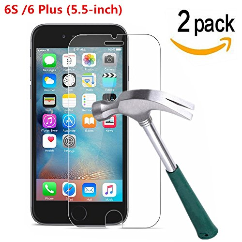 iPhone 6 Plus / iPhone 6S Plus Screen Protector, [ 2 Pack ] Asstar 9H Hardness 2.5D Tempered Glass Bubble-Free Screen Protectors for Apple iPhone 6S / iPhone 6 Plus (5.5-inch) (2 Pack)
