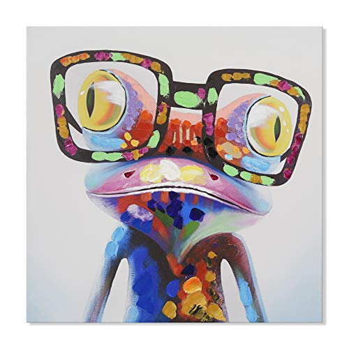 JAPO ART Funny Animal Hand Painted on Canvas Print with Stretched Frame Wall Art for Kids Room Bedroom Living Room Ready to Hang (Colorful Happy Frog with Glasses, 16 x 16 Inch)
