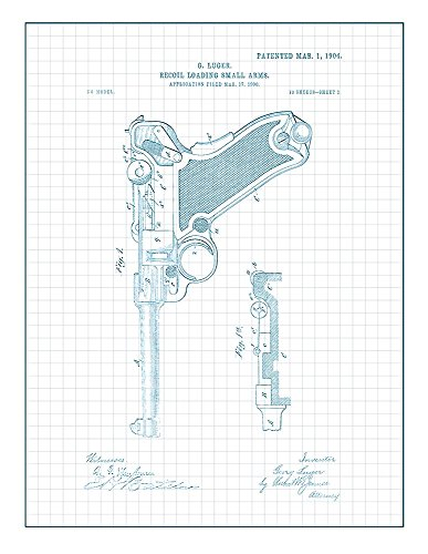 Luger Recoil Loading Small Arms Patent Print Art Poster Blue