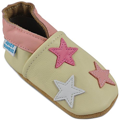 Beautiful Soft Leather Baby Shoes - Crib Shoes with Suede Soles - Yellow Stars - 18-24 ()
