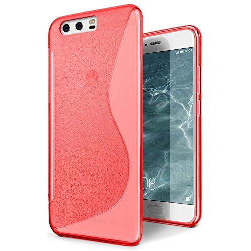 Funda Huawei P10, SLEO Slim Fit TPU Carcasa de Parachoques Case Traslúcido Suave con Absorción de Impactos y Resistente a los Arañazos para Huawei P10 - Negro Rojo