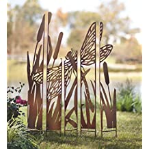 Outdoor Dragonfly Laser Cut Metal Garden Panel Stakes Silhouette Decorative Privacy Screen Antiqued Natural Rust Patina Finish Set of 5 Individual Panels 42 W x 59.5 H x .75 D