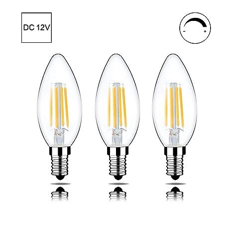 Portalámparas LED E14 de 12 V CC, entrada regulable, 2700 K, temperatura de color 4 W, 400 lúmenes, puede sustituir a una bombilla de 40 W, 3 unidades ...