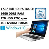 2017 Newest Flagship HP ENVY 17.3 Full HD IPS Touchscreen Laptop, Intel Dual-Core i7-7500U up to 3.5GHz, 16GB DDR3, 1TB HDD 7200 rpm, 4GB NVIDIA GeForce 940MX, DVD burner, Backlit Keyboard, Win 10