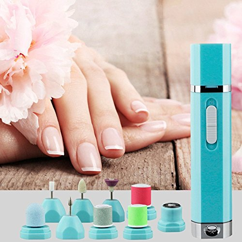 YOUDirect Electric Nail Drill - 9 in 1 Mini Nail polisher Machine Portable Manicure Pedicure Kit Professional Finger Toe Nail Care Noiseless Nail Grinder Tool Set