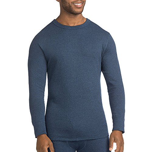 Duofold Men's Mid Weight Double Layer Thermal Shirt, Blue Jean, Medium