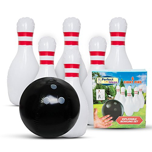 Family Games Bowling Inflatable Toys – Giant Yard Party Outdoor Games for All Ages - Family Fun Pack Indoor Backyard Lawn Carnival Kids Adults Game Toy Set Includes Jumbo Bowling Ball and 6 Large Pins by Perfect Life Ideas