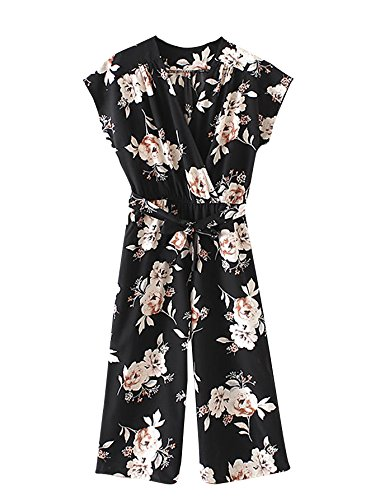 Romwe Womens Floral V Neck Jumpsuit with Self Tie Mid Waist Cap Batwing Sleeve Romper