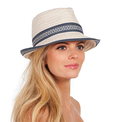 Eric Javits Luxury Fashion Designer Women's Headwear Hat - Big Deal - Cream Blue Tweed by Eric Javits