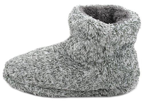 SlumberzzZ Mens Coral Fleece Bootie Slipper Grey kVJrLmmEtS
