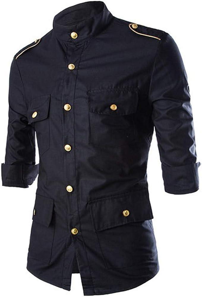 AiRobin Camisa de Mangas Tres Cuartos de Color sólido para Hombre Primavera Verano, Negro, M: Amazon.es: Ropa y accesorios