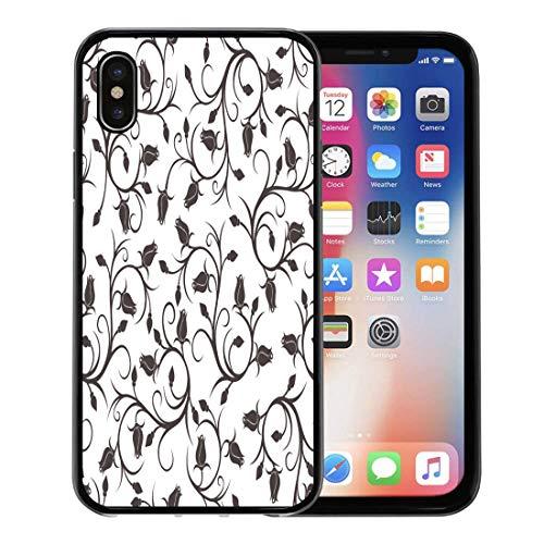 Emvency Phone Case for Apple iPhone Xs Case/iPhone X Case,Brown Pattern Black Vine Rose Buds White Flower Floral Soft Rubber Border Decorative, Black