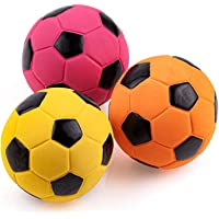 Chiwava 3PCS 2.7'' Squeak Latex Dog Toy Football Chew Fetch Throw Ball for Medium Dogs Interactive Play
