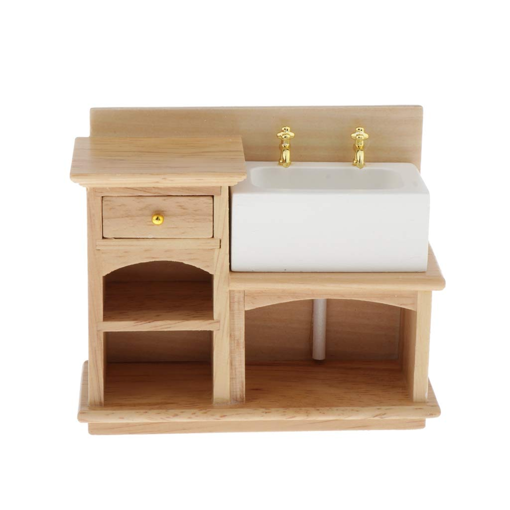 Natural Wood Realistic Miniature Model Display Ornaments Toygogo 1//12 Scale Bathroom Sink Furniture for Doll House Decoration